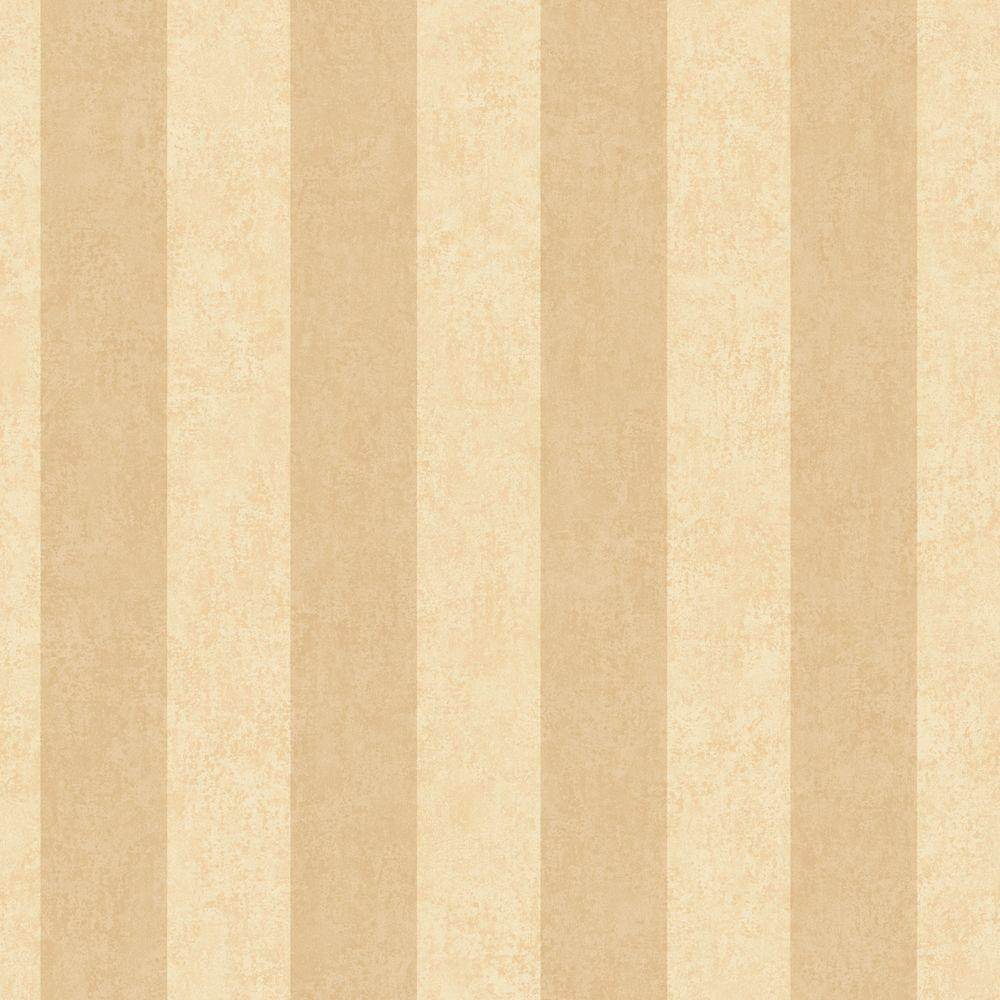 The Wallpaper Company 56 sq. ft. Beige and Ochre Stripe Wallpaper