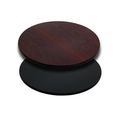 24 in. Round Table Top with Black or Mahogany Reversible Laminate Top
