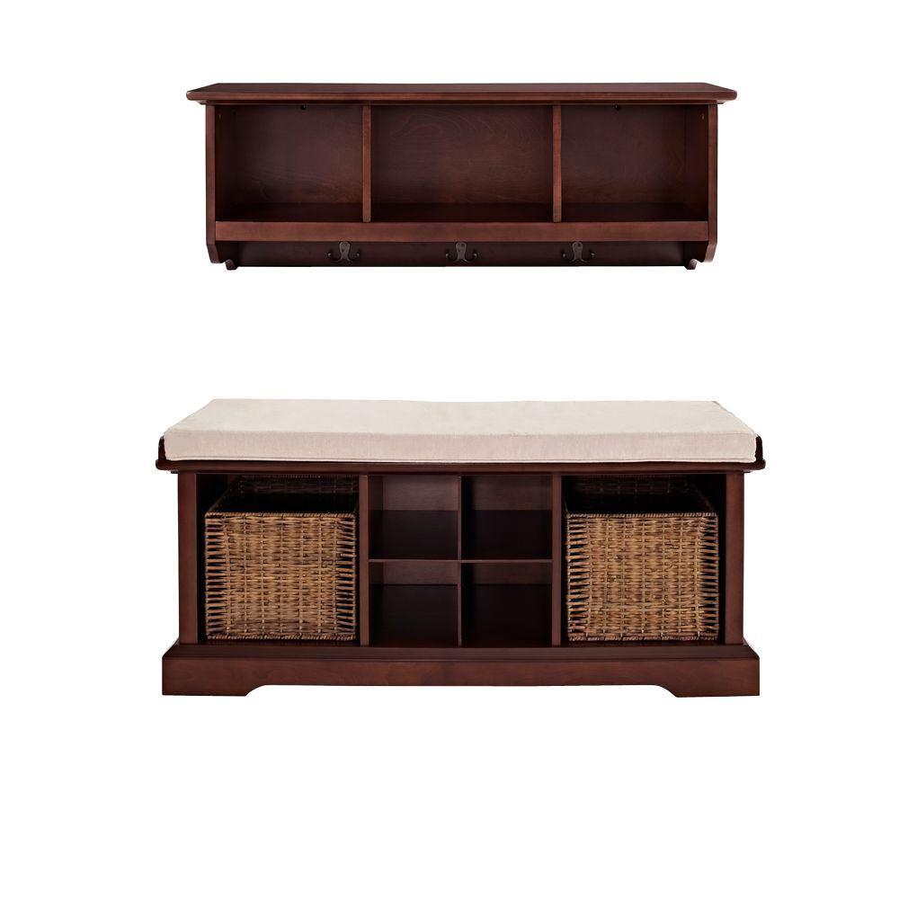 Crosley Brennan Entryway Bench with Shelf Set in Mahogany
