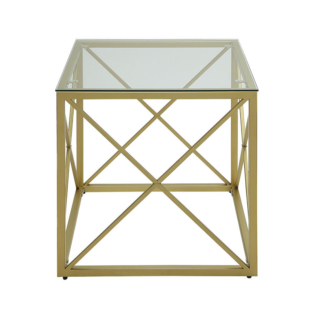 Carolina Cottage Maren Gold Cube Glass Top Accent Table