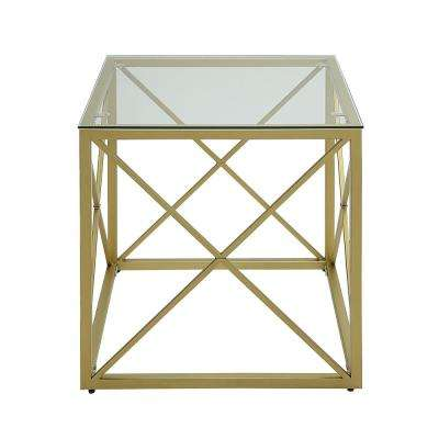 Maren Gold Cube Glass Top Accent Table