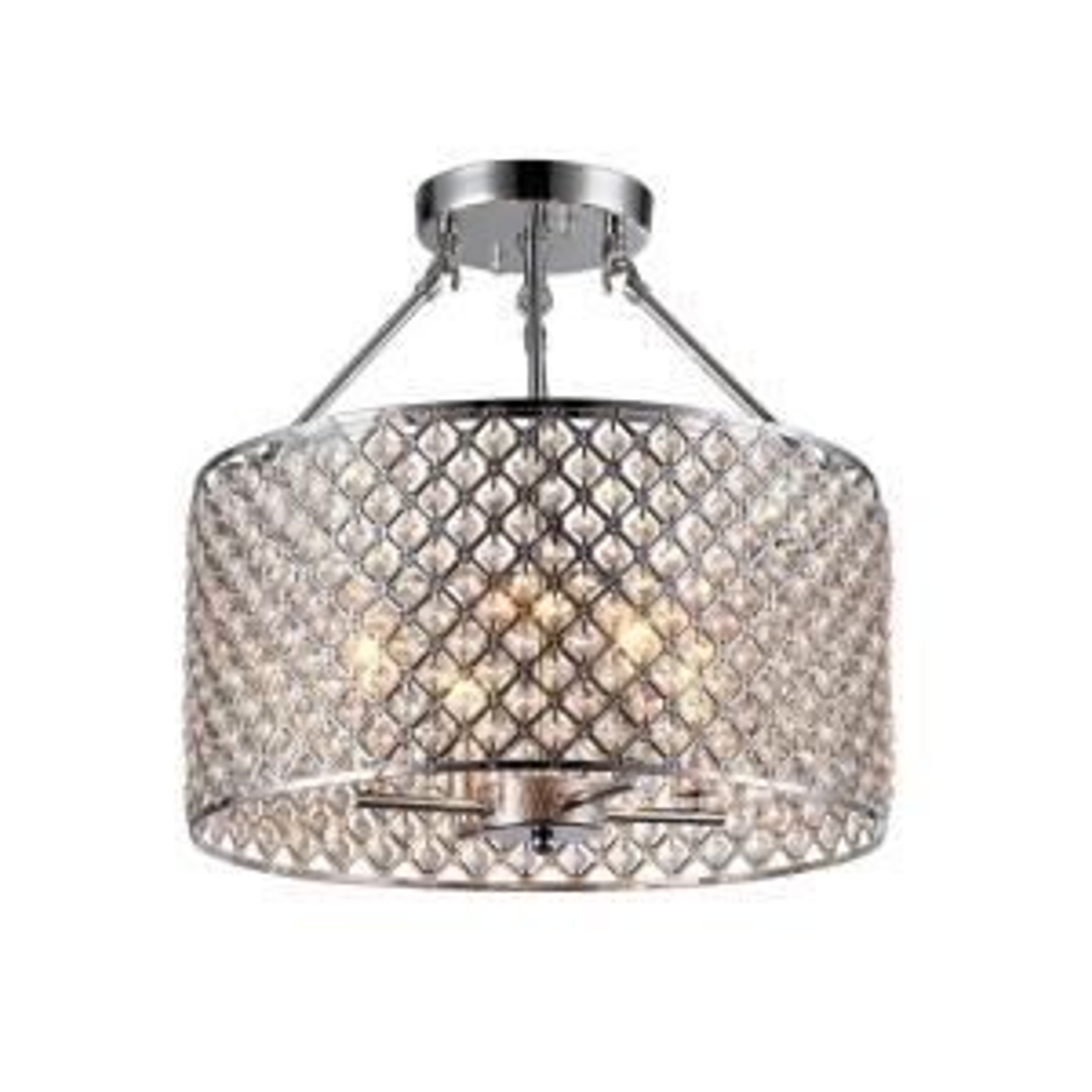 Kirsten 4-Light Chrome Indoor Crystal Semi-Flush Mount Light by