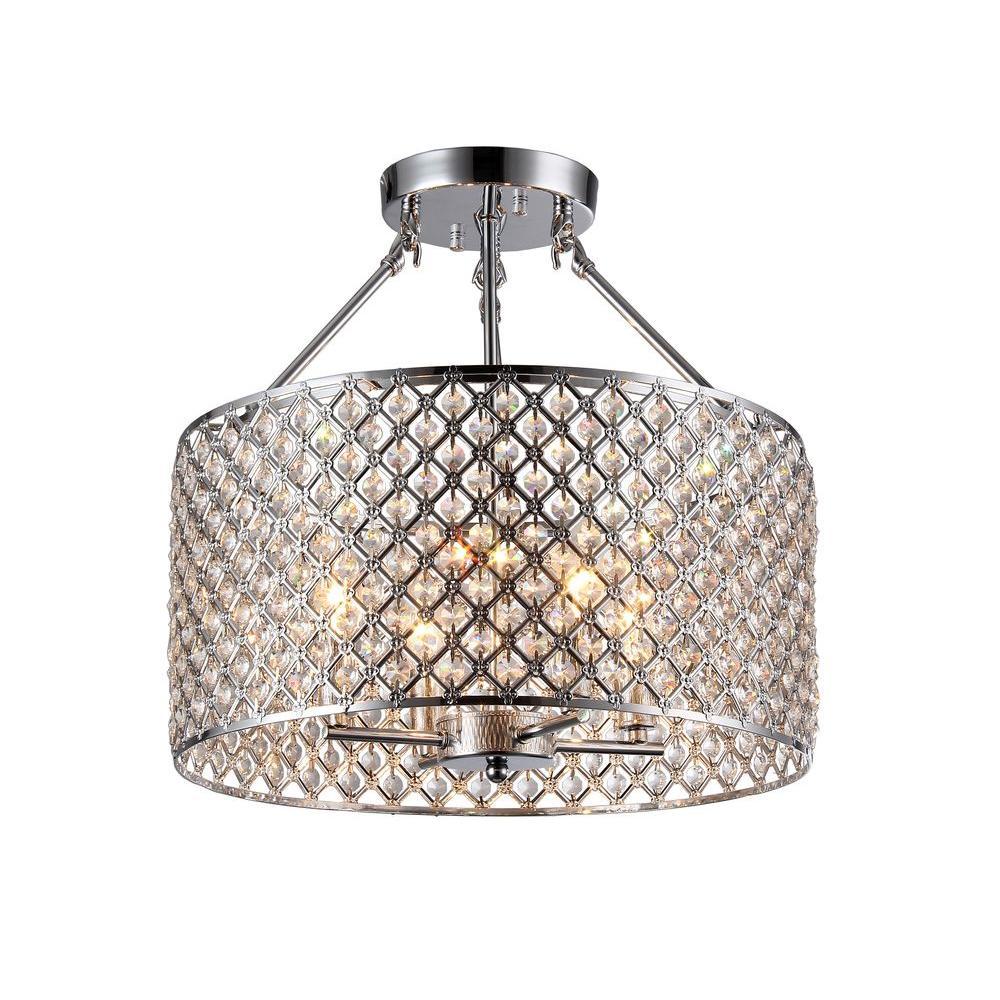 Glam semi flushmount lights lighting the home depot kirsten 4 light chrome indoor crystal semi flush mount light aloadofball Images