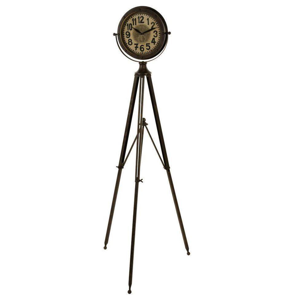 Home Decorators Collection Northcote 8.37 in. Brown Adjustable Floor Clock