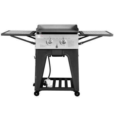 2 Burner Propane Gas Grill Griddle with Folding Side Tables