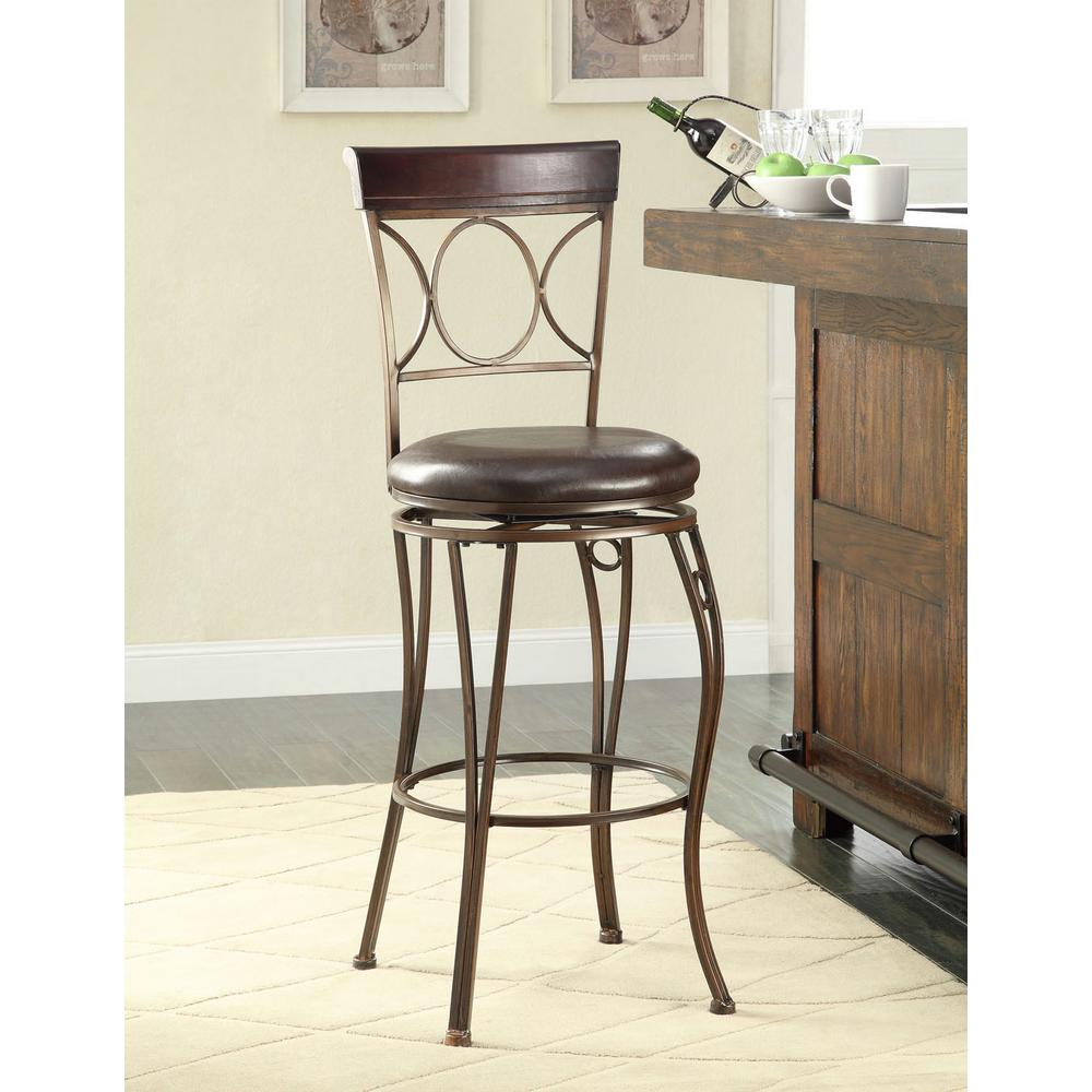 circles back 30 in brown swivel cushioned bar stool 02731mtl 01 kd u the home depot. Black Bedroom Furniture Sets. Home Design Ideas