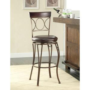 Circles Back 30 inch Brown Swivel Cushioned Bar Stool by