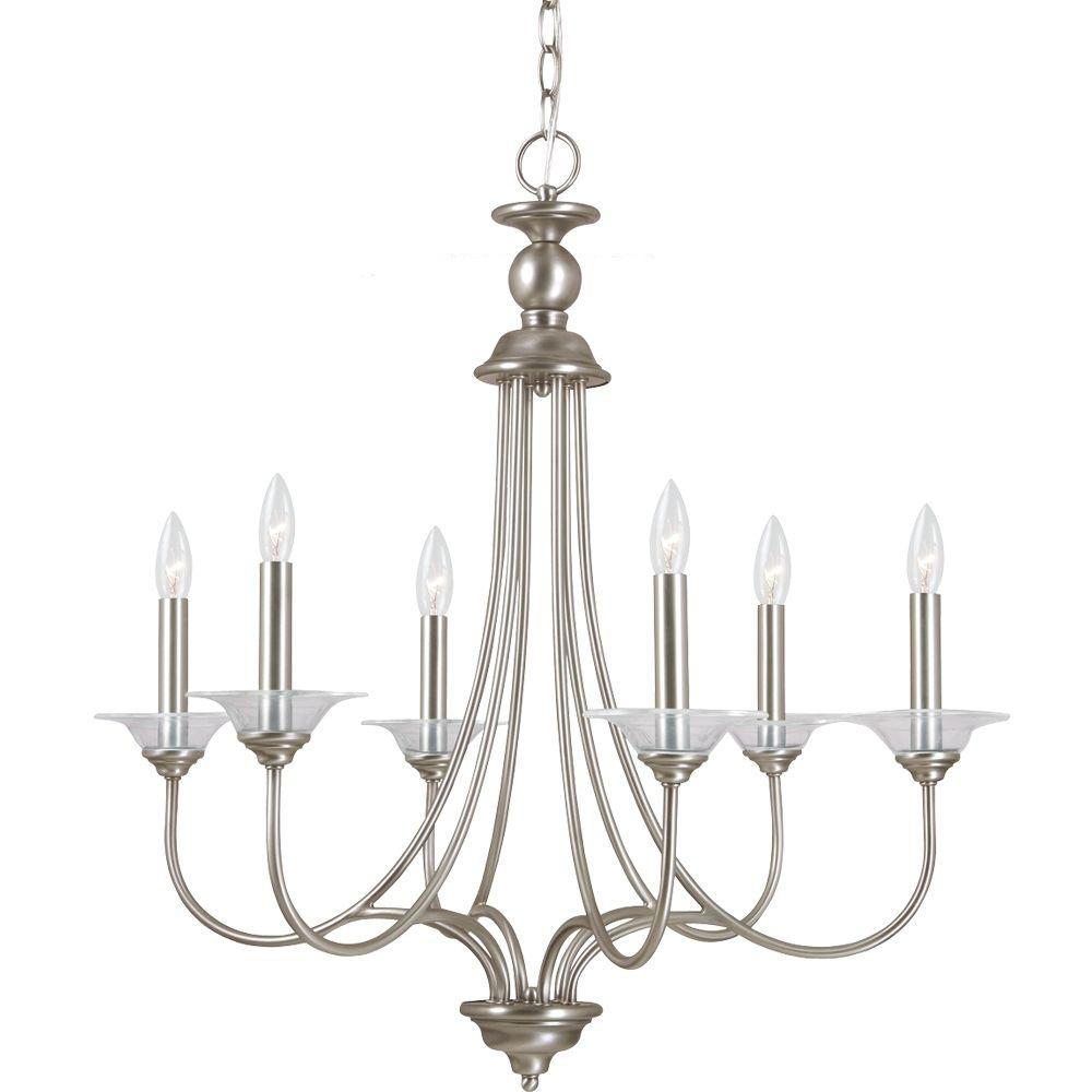 sea gull lighting lemont 6 light antique brushed nickel 87980