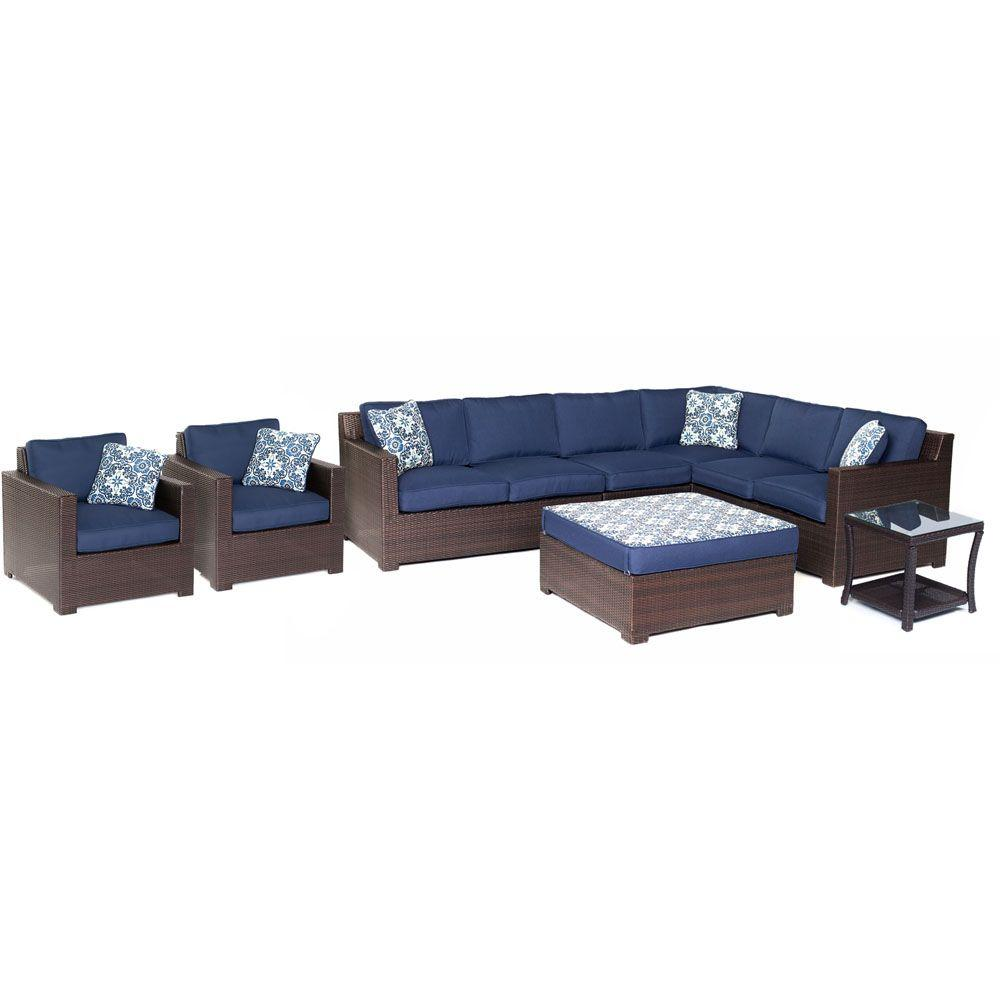Hanover Brown All Weather Wicker Seating Set Navy Blue Cushions