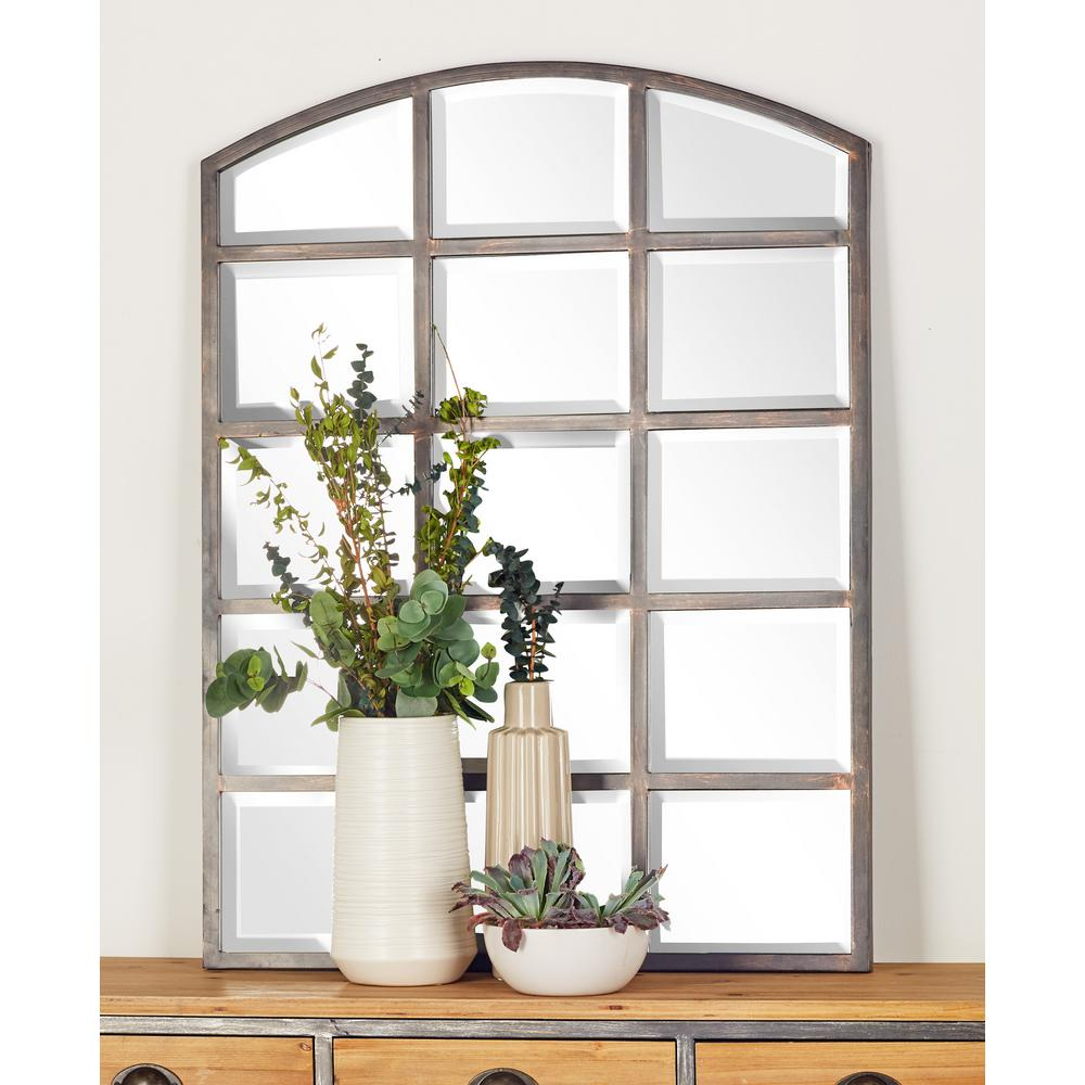 Arched Window Pane Inspired Mettalic Black Decorative Wall