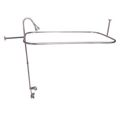 Plastic Lever 2-Handle Claw Foot Tub Faucet Riser Showerhead and 54 in. Rectangular Shower Unit in Chrome