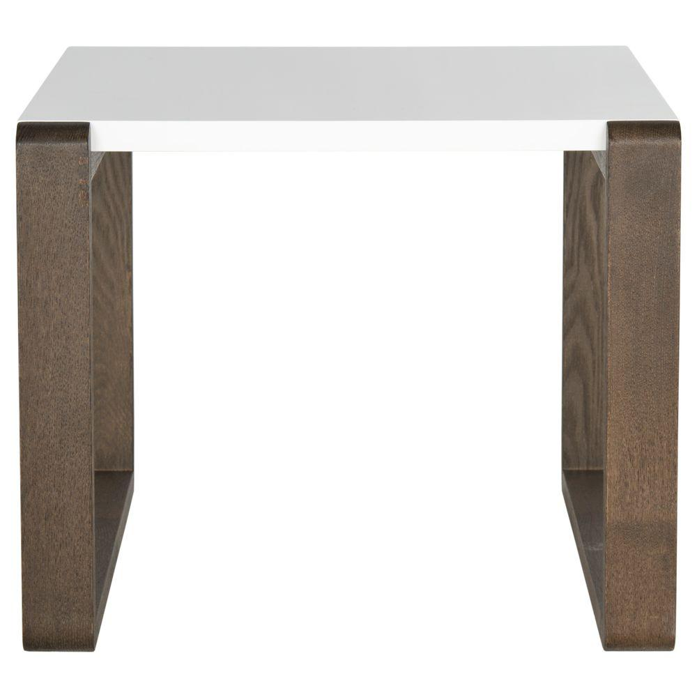 Bartholomew White and Dark Brown End Table