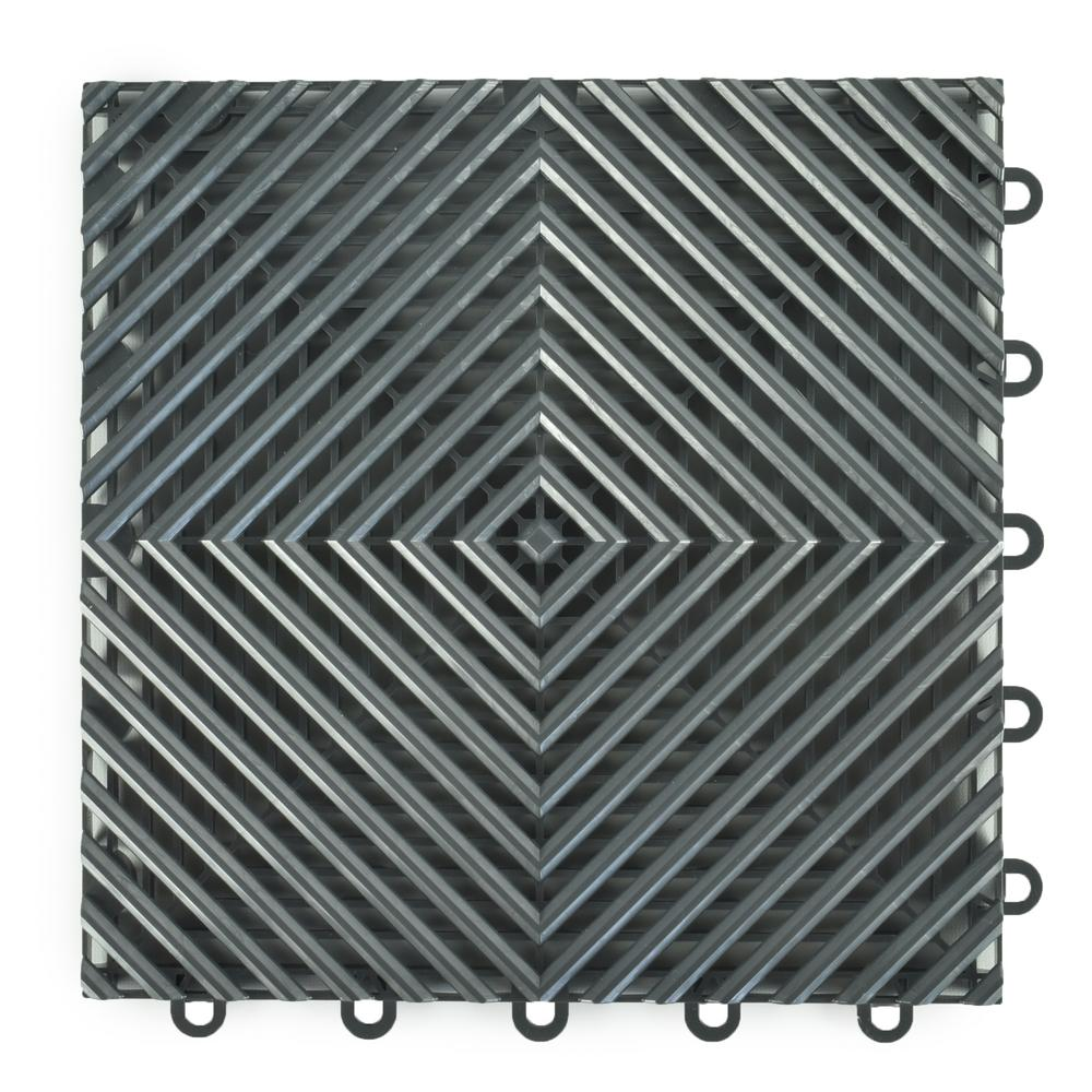 Greatmats Perforated Click 12-1/8 in. x 12-1/8 in. Gray Plastic Garage Floor Tile (25-Pack)