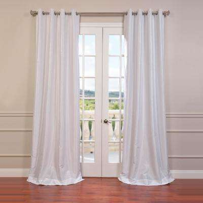 Ice White Grommet Blackout Vintage Textured Faux Dupioni Silk Curtain - 50 in. W x 96 in. L