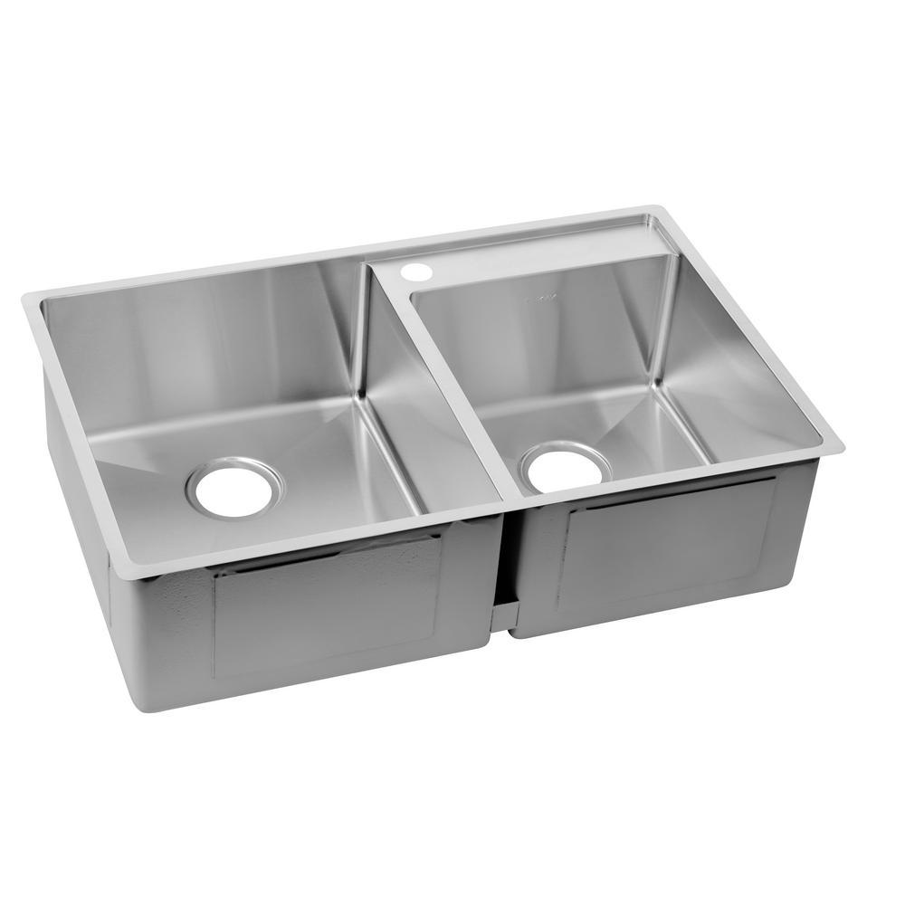 Crosstown Water Deck Undermount Stainless Steel 33 in. Double Bowl Kitchen Sink