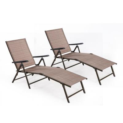 Cusco Brown Reclining Metal Outdoor Chaise Lounge with Tan Cushions (Set of 2)