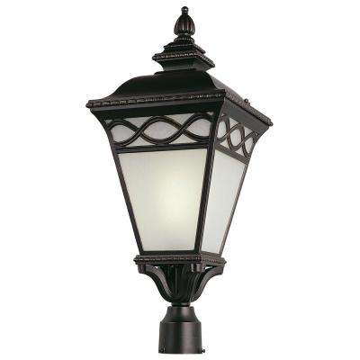 26 in. Candlewood 1-Light Outdoor Burnished Bronze Post Light