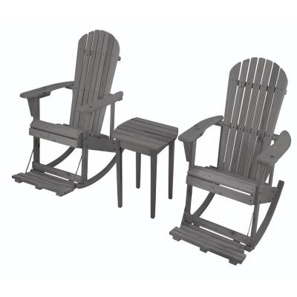 Zero Gravity Dark Gray 3-Piece Wood Adirondack Rocking Chair Bistro Set