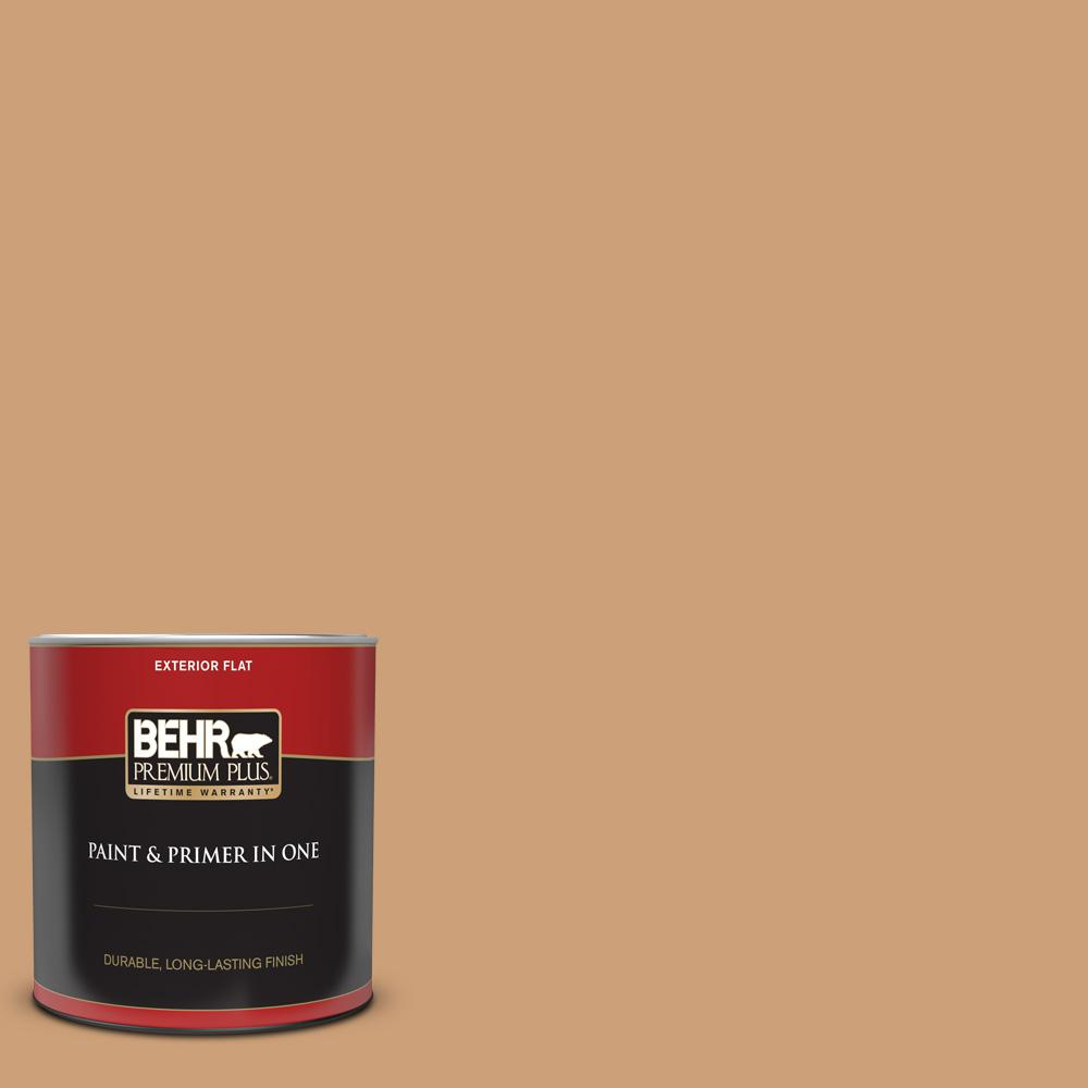 Behr Premium Plus 1 Qt Ppu4 16 Kenya Flat Exterior Paint And Primer In One 440004 The Home Depot