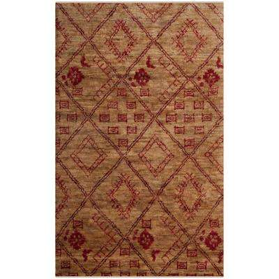 Bohemian Natural/Red 5 ft. x 8 ft. Area Rug