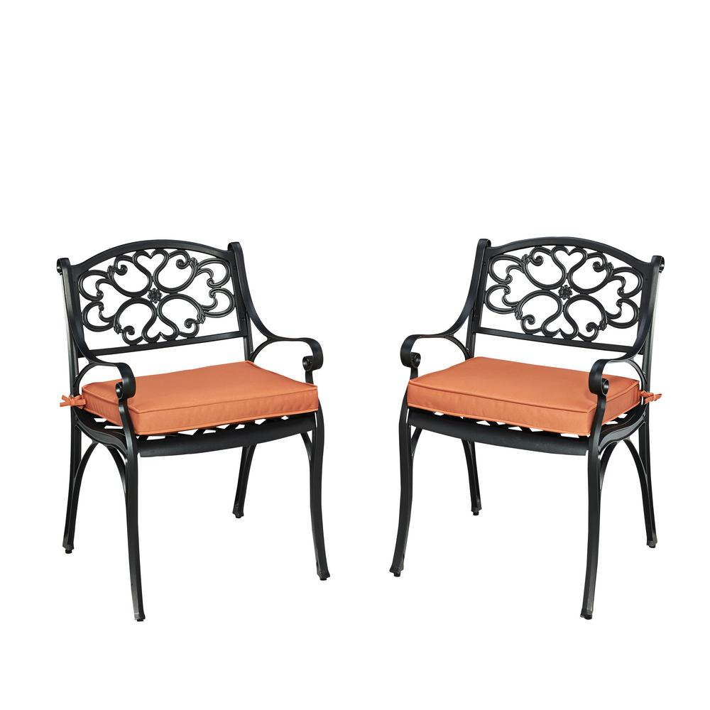 Biscayne Black Outdoor Dining Arm Chair with Coral Cushions (Pack of