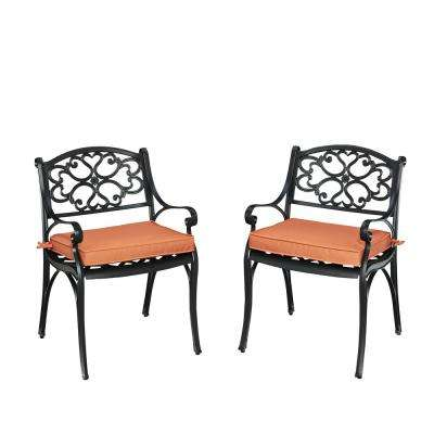 Biscayne Black Outdoor Dining Arm Chair with Coral Cushions (Pack of 2)