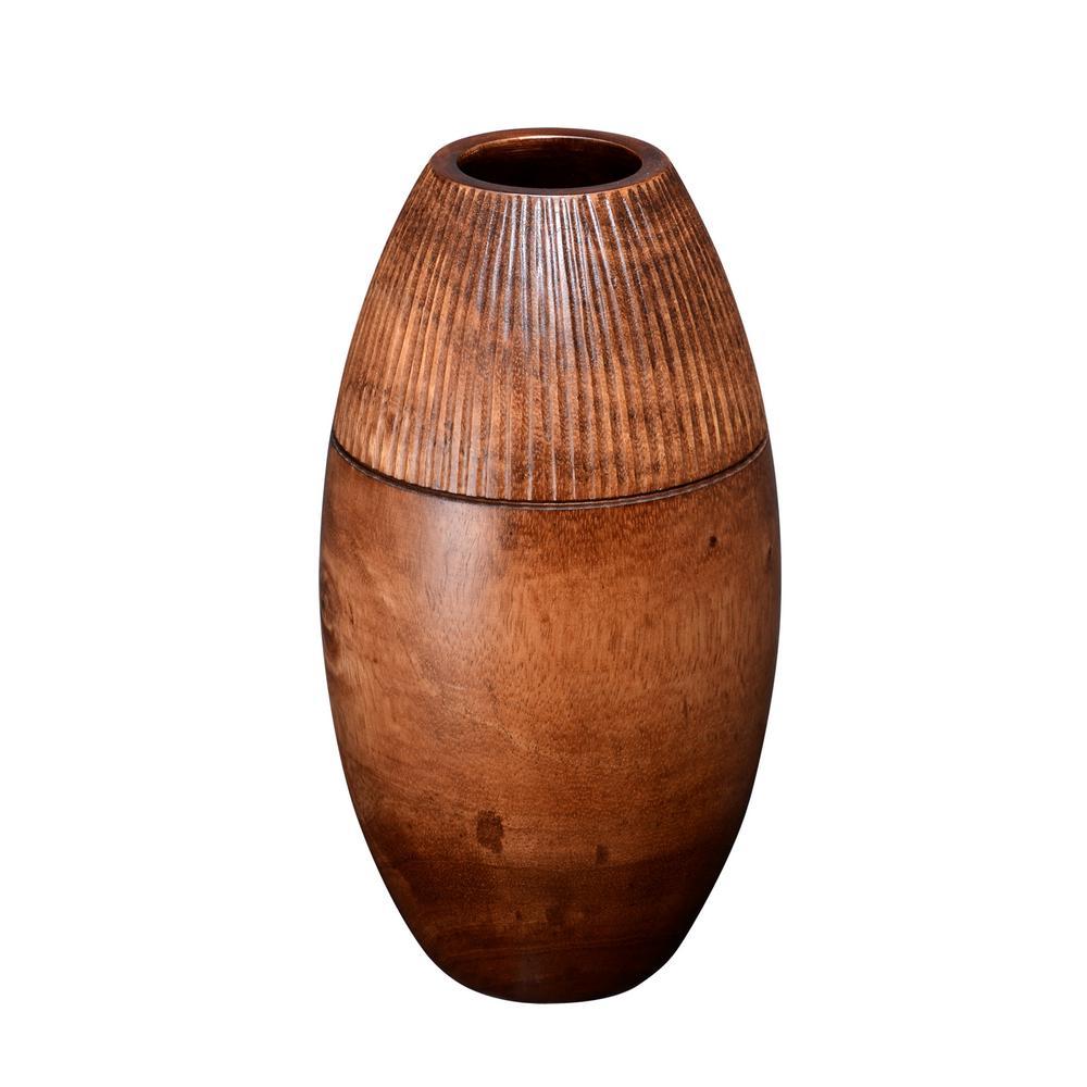 11 in. Brown Decorative Handmade Round Mango Wood Vase