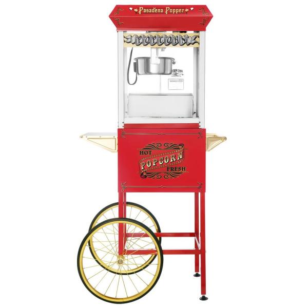 Pasadena 8 oz. Antique Red Popcorn Machine with Cart