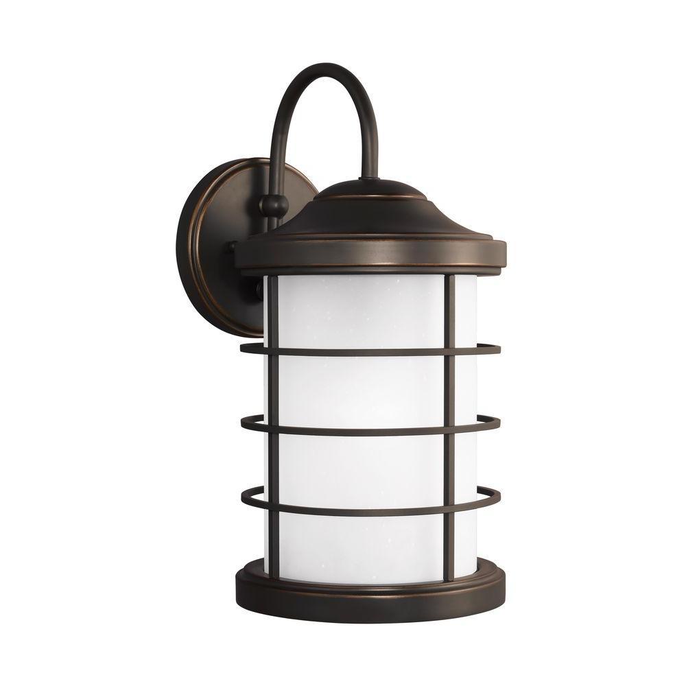 Sauganash 1-Light Antique Bronze 16.75 in. Wall Lantern Sconce