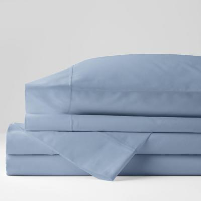 Classic Solid 4-Piece Ice Blue 350-Thread Count Cotton Sateen Queen Sheet Set