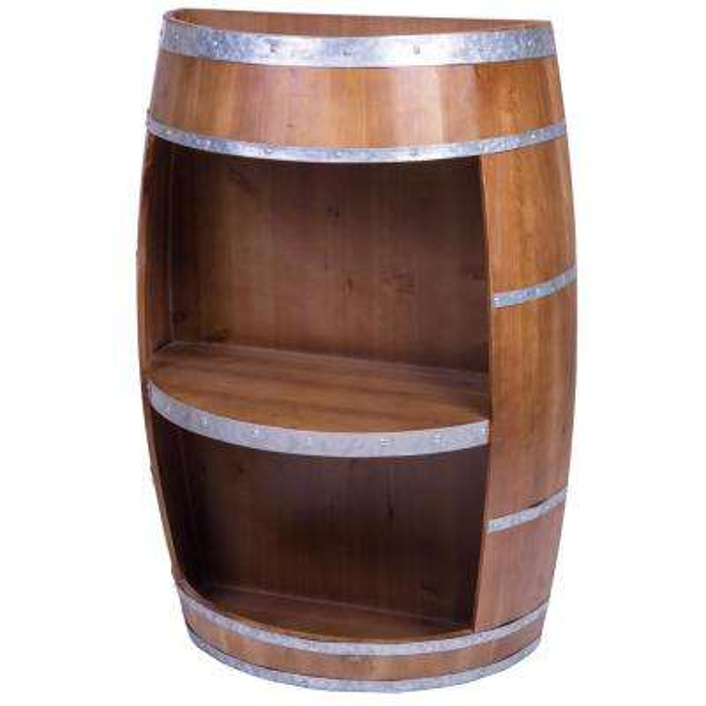 Rustic Wooden Wine Barrel Bar Storage Rack, Industrial Style Wine End Table