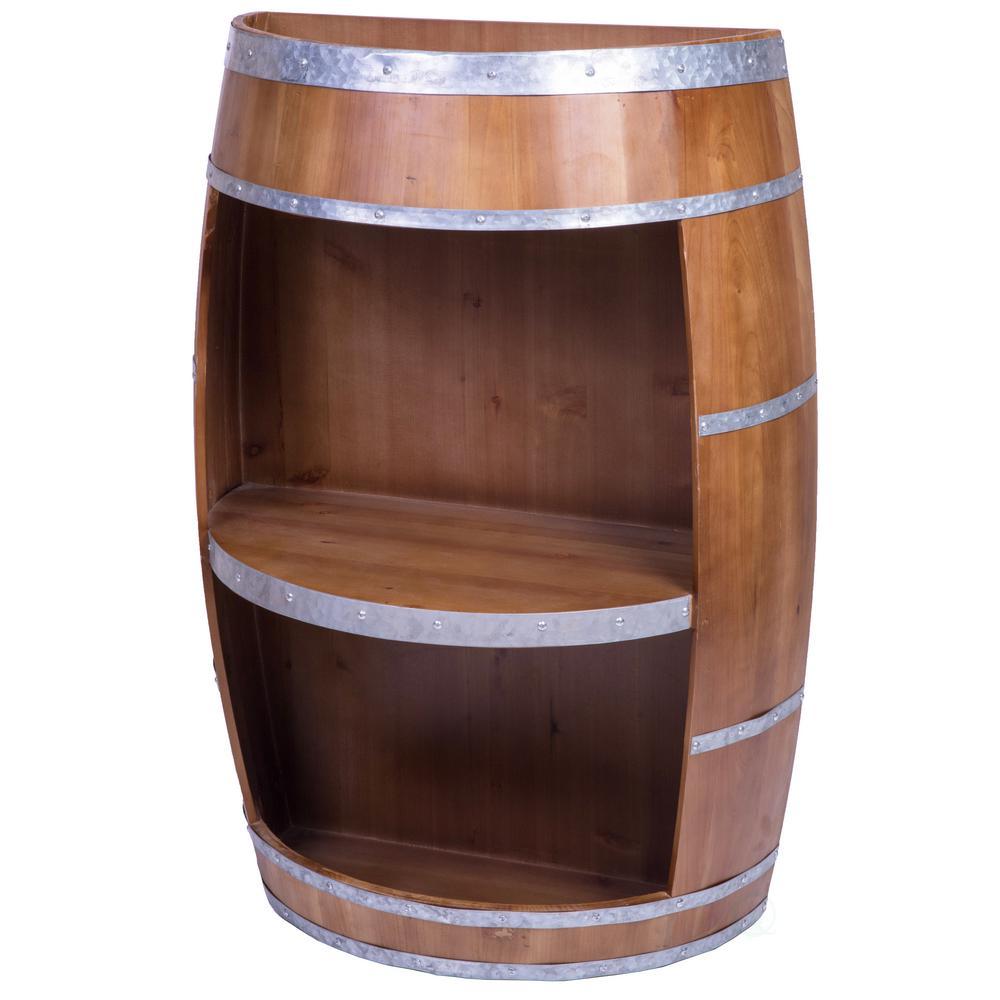 Vintiquewise Rustic Wooden Wine Barrel Bar Storage Rack, Industrial Style Wine End Table
