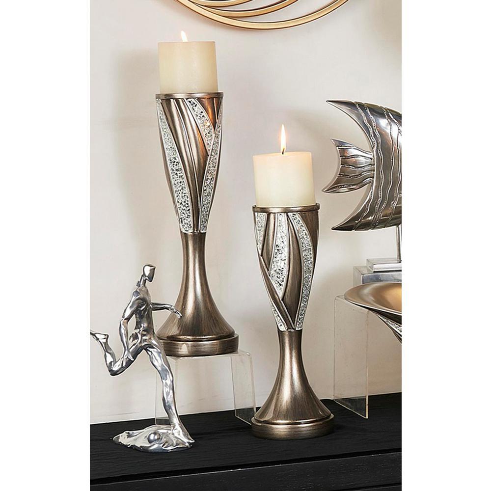 9a22e7267a62c ORE International Kairavi Silver Candle Holder (Set of 2)-K-4292C ...
