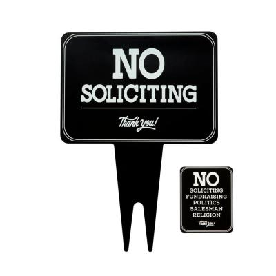 10 in. x 14 in. Aluminum No Soliciting Sign with Sticker