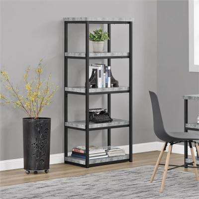 Concrete Gray Ashlar 4-Shelf Open Bookcase