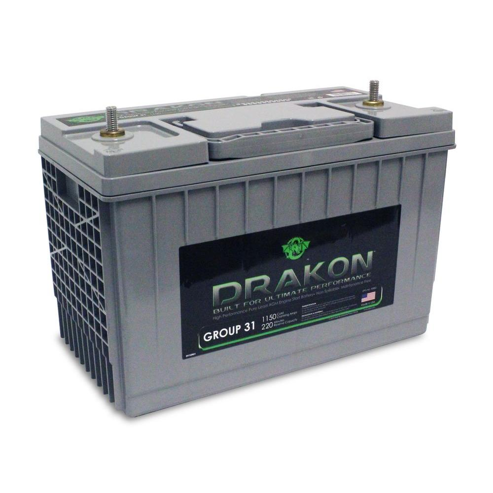 Group 31 Agm Battery >> Drakon 12 Volt High Performance Group 31 Pure Lead Agm Engine Start