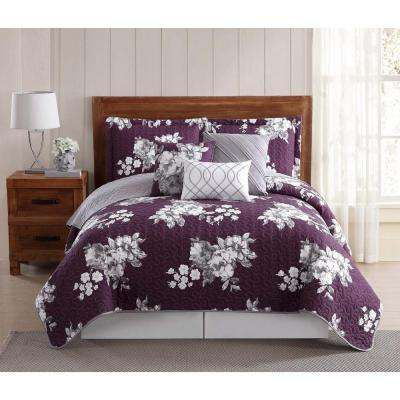 Peony Garden Floral Multi-Color Queen Quilt Set