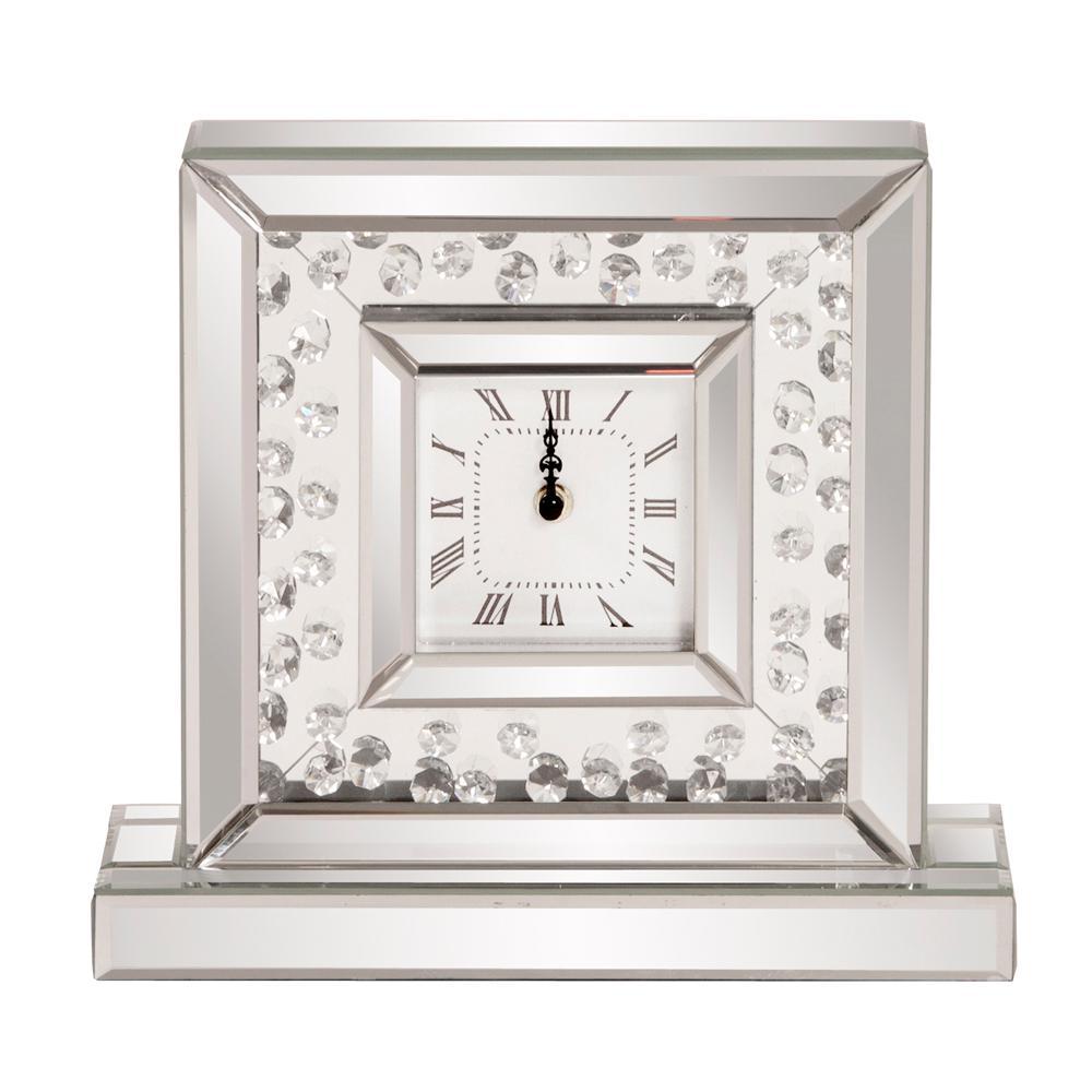Glass Crystal Mirrored Clock