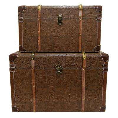 28 in. x 17 in. x 17 in. Brown Nested Wood Trunks (Set of 2)