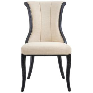 Jacques Natural Linen Flared Back Side Chair in Antique Black (Set of 2)