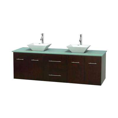 Centra 72 in. Double Vanity in Espresso with Glass Vanity Top in Green and Porcelain Sinks