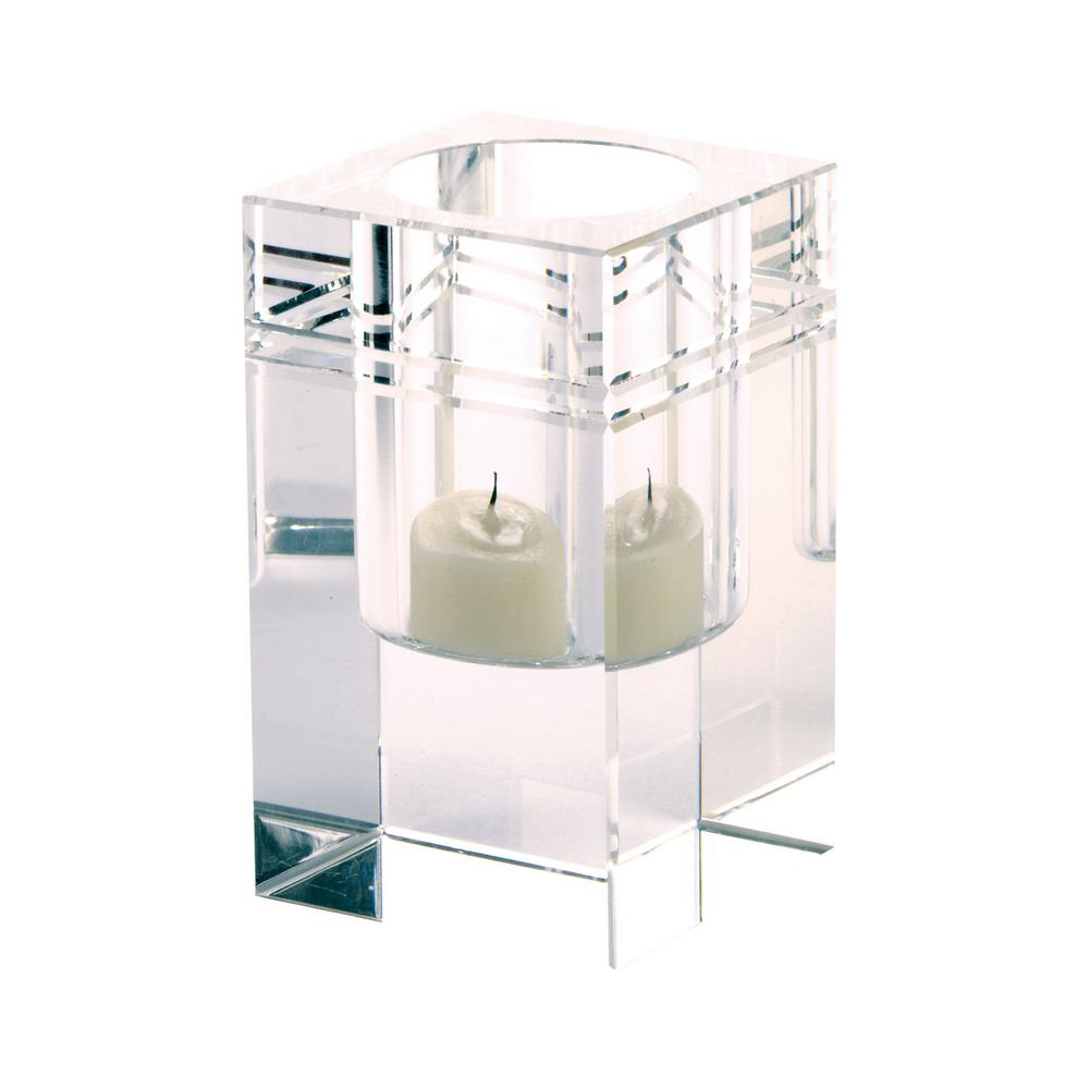 Square Crystal Collar 4 in. Clear Crystal Candle Holder