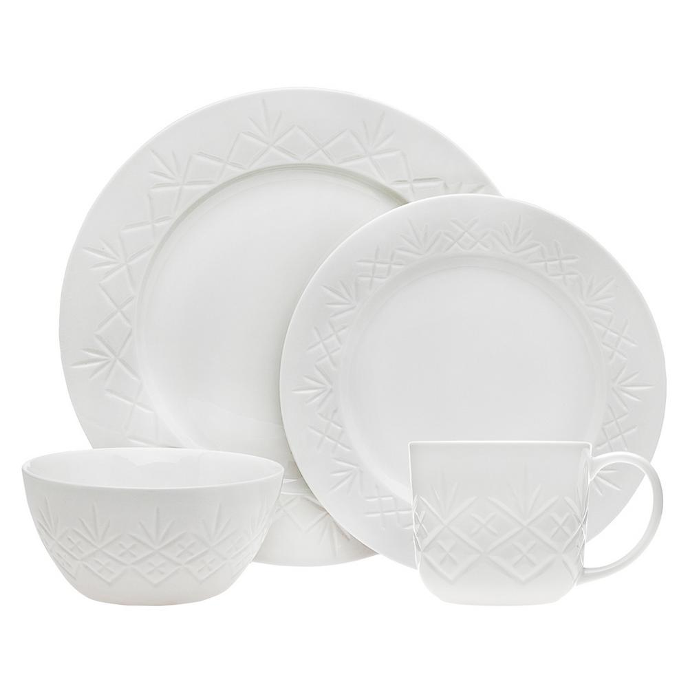 095874128a42 Godinger 16-Piece Dublin White Dinner Set 62100 - The Home Depot
