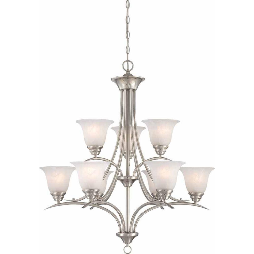 31.75 x 31.75 x 37 Volume Lighting V4679-27 Hyde Park 9-Light Florence Bronze Chandelier