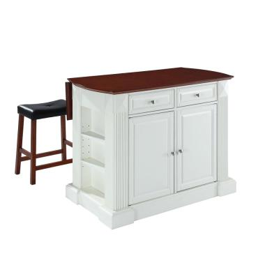 Coventry White Kitchen Island with Saddle Stools