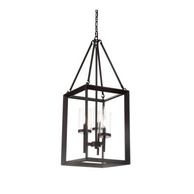 Anna 12 in. 3-Light Oil Rubbed Bronze Metal/Glass LED Pendant