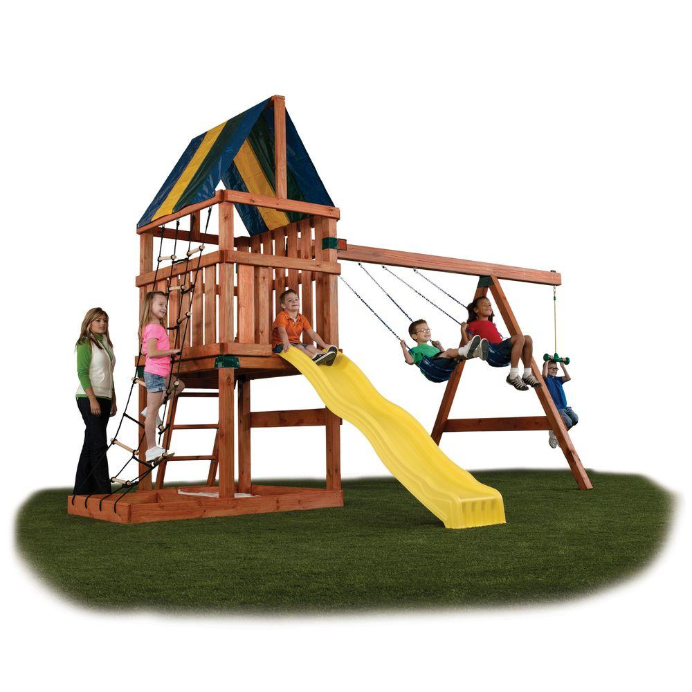 Wooden Swing Set Patio Outdoor Playhouse Kit For Kids Big ...