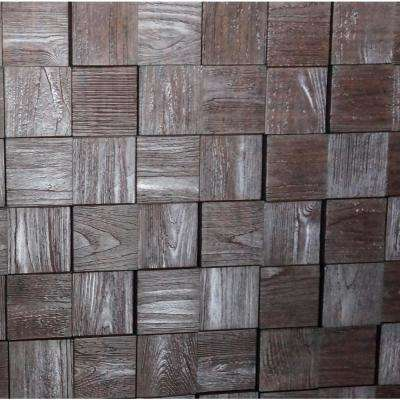 Harmony Cubes 24 in. x 24 in. Wood Walnut PVC Wall Panel