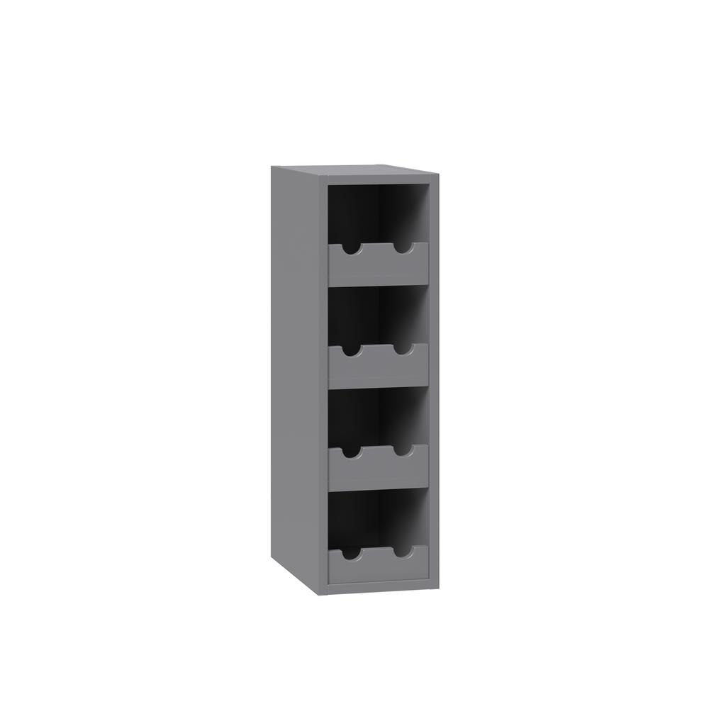 J COLLECTION Shaker Assembled 9 in. x 30 in. x 14 in. Wall Wine Rack  Cabinet with Matching Interior in Gray