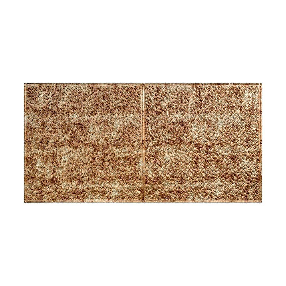 null Hammered - 2 ft. x 4 ft. Glue-up Ceiling Tile in Bermuda Bronze